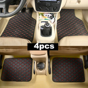 4Pcs Universal PU Leather Front Rear Car Floor Mats Waterproof Non-slip Carpets