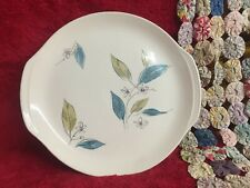 Vintage Salem Biscayne Platter Pretty Teal Yellow-Green Floral & Leaves China