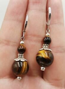 3 Color Natural 6-12mm Tiger's Eye Round Beads Earring AAA