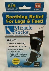 Miracle Socks ~Anti-fatigue Compression Socks ~Size: S/M ~1 Pair ~Black ~Unisex