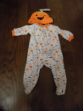 Baby NB First Halloween Outfit White Orange Ghost Owl Sleeper Pumpkin Hat Set