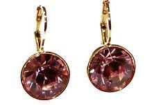 Swarovski Elements Pink Bella Earrings Gold Plated Dangle Earrings Leverback