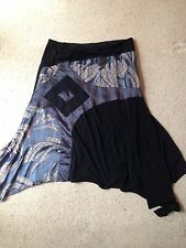 TS14+ TAKING SHAPE METALLIC BLUE BURNOUT AND BLACK STRETCH EVENING SKIRT SZ 18