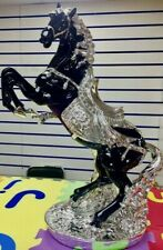 BEAUTIFULL Italian Luxury Horse Ornament Silver Black Romany Gypsy 46cm 3a