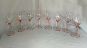 """8 Wine Or Water Goblet Glasses 7 1/4"""" TALL PINK Tulip Shape GLASS Glasses 12 Oz"""