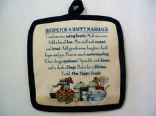 """1 NEW  Handcrafted Potholder - """"RECIPE FOR A HAPPY MARRIAGE"""",  6.5""""x6.5"""""""
