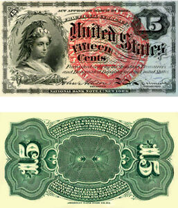 Reproduction of Fractional Currency 1869 Bust of Columbia  15-cent bank note,