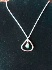Vintage Retro Navajo Sterling and Turquoise Triangular Shaped Pendant Necklace
