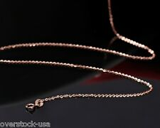 45cm Pure 18K Rose Gold Necklace O Link Chain Necklace Au750