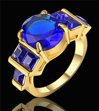 Blue Sapphire CZ Engagement Ring 18K yellow Gold Filled Men/Womens Gift Size 7