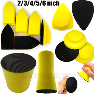 Hand Sanding Block PU Foam Hands Pad Tools Wheels Holder for Hook and Loop Disc
