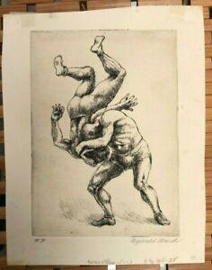 "Reginald Marsh, 'Wrestlers"" 1931 etching Very Rare, Edition of 13"