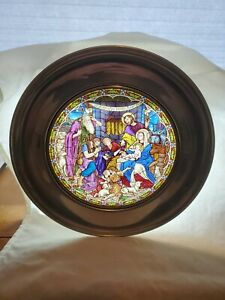 US Historical Society Stained Glass Christmas Plate Lot, 6 pcs