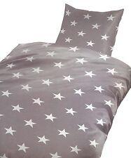 2 tlg. Bettwäsche mit Kissenbezug Microfaser 135x200  Sterne Grau Weiß Garnitur