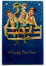 Happy NEW YEAR Starry Sky CHILDREN on Fence Postcard EMB Gold
