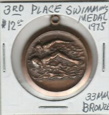 Token -  Swimming Medal - 1975 Tri-Star - 3rd Place - 33 MM Bronze
