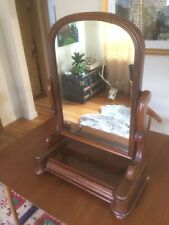 19th Century Victorian Walnut Shaving Dressing Table Vanity Mirror