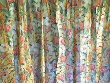 Pair Vintage Laura Ashley Lined Cotton Cottage Curtains Tulips and Daffodils