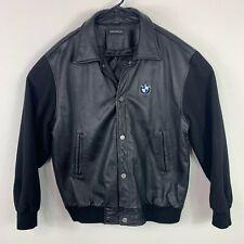 BMW Vintage 90s Motorcycle Car Leather Body Wool Sleeve Bomber Jacket Size Large