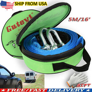 16' Heavy Duty Winch Tow Towing Rope Road Recovery Pull Strap Emergency 8 Tons