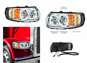 Pair All LED Headlights w/ LED Halos DLR & Turn Signals for Peterbilt 388/389