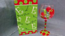 "9 IN. ""Main Street"" HAND PAINTED WINE GLASS w/ ""P"", ""D"", ""E"", new in box"