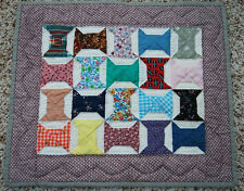 Wonderful Miniature Bow Ties Signed & Dated Doll Quilt ~Beautiful Fabrics!