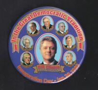 "1993 Bill Clinton Democratic Tradition button 4"" w/ Kennedy Roosevelt Jefferson"