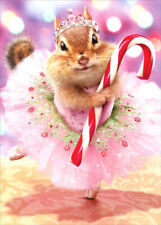 Chipmunk Plum Fairy Premium Christmas Card - Greeting Card by Avanti Press