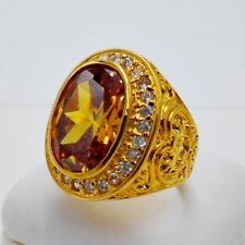 MEN MAN RING YELLOW SAPPHIRE CZ 24K YELLOW GOLD FILLED GP SOLITAIRE GEMS SIZE 9