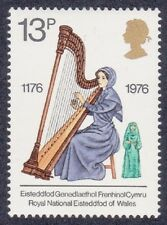 GB 1976  - Cultural Traditions - Harpist - Royal National Eisteddfod - 13p Stamp