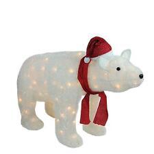 "36"" LED Lighted White Glittered Polar Bear Christmas Yard Art Decoration"