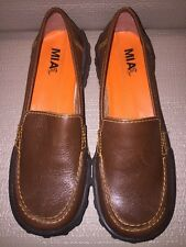 Mia too Size 6M Brown Slip On Loafers Orange Stitching Brazil Made