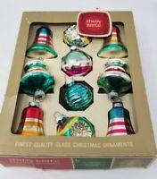 Vtg~Original BOX of 12~UFO ATOMIC TOPS~PATRIOTIC~Shiny Brite Xmas Glass Ornament