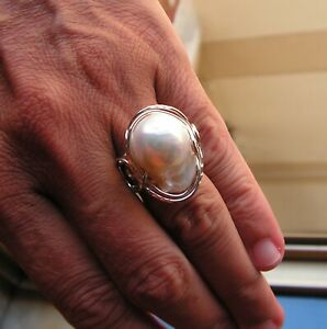 Genuine Silver S925 Natural White Baroque Freshwater Pearl Ring Size 7 Adjustabe