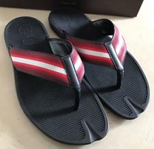 New Gucci Men's Black Flip-Flop Thong Sandals w/Red White Web 338785 6460