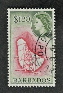 BARBADOS, QEII, 1956, $1.20 carmine & bronze-green value, SG 300, used, Cat £7.