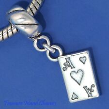 ACE OF HEARTS PLAYING CARD .925 Solid Sterling Silver EUROPEAN Dangle Bead Charm
