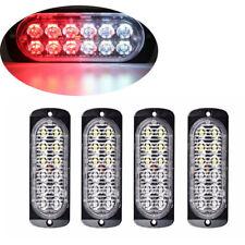 4Pc Red/White 12LED Car Truck Emergency Warning Hazard Flash Strobe Light