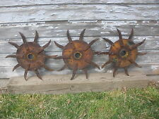 "(3) Rotary Hoe Wheel Yard Garden Art Decor SteamPunk 18"" with cut center"
