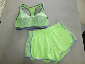 Victoria's Secret VSX Sports Bra 34C Neon Yellow Mesh Running Shorts Set SMALL