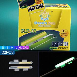 20pcs Fluorescent Fishing Rod Glow Clip-on Lights Sticks Fishing Tackle