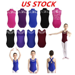 TiaoBug Kid One-Piece Turtle Neck Bodysuit Clothing Sleeveless Gymnastic Sport Tops Lace Leotards for Girls Ballet