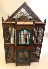 Vintage Wooden Bird Cage Complete w/ Floor Wood Tray