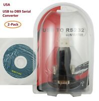 Lot of 2 New USB 1.1 to RS232 DB9 Serial Port Adapter Converter with USB Cable