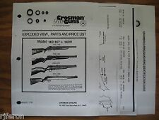 Crosman 140 147 1400 Seal O-Ring Kit - Two Exploded Views Parts List & Guide