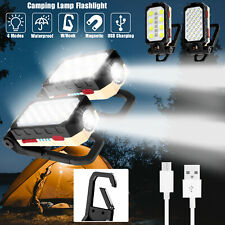 Magnetic Cob Led Work Light Usb Rechargeable Camping Lamp Torch Flashlight Hook