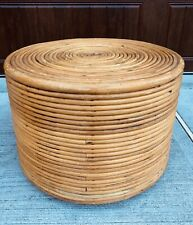 Vintage Rattan Bent Wood Came Bamboo Round Side End Accent Table Ottoman Coffee