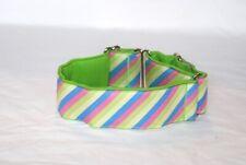 "2"" Martingale Dog Collar Pastel Diagonal Stripes - Ribbon on Backing 1"