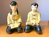 Vintage Chartreuse Deco Chalkware Pair Asian Boy Girl Figurine Mid Century 1950s